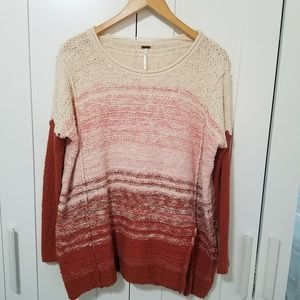 Free People Orange Ombre Stripped Oversize Sweater